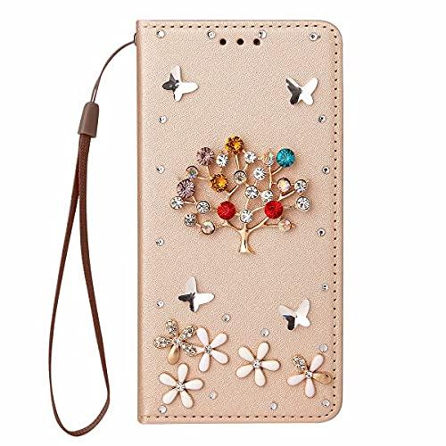 Nadoli Wallet Coque avec Diamant pour Samsung Galaxy Note 20,3D Fait Main Arbre Fleur Papillon Soie Dessin Bling Pailleté Brillant Faux Cuir Dragonne Housse Étui à Rabat