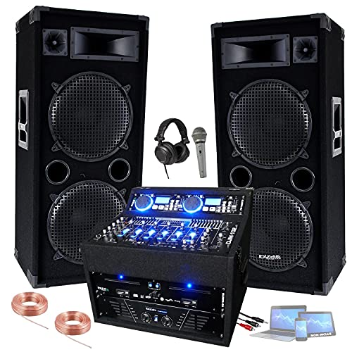 Régie Sono Flight Case DJ1000MKII avec Double CD USB – Table de Mixage DJM102 – Ampli 960w et 2 Enceintes 3000W Totale – Micro, casque et Câbles offerts – PA DJ SONO MIX BAR CLUB DISCO