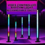 2021 Nouveau capteur à activation vocale Rhythm Light RGB Indicateur de niveau de musique 32 bits Lumière d'ambiance pour voiture Gaming PC TV Salle Véhicules Lieux de loisirs