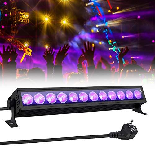 36W UV LED Barre,GLIME Tube Lumière Noire Lampe UV LED,12 LEDs AC100-240V, Extérieur UV Wall Washer Éclairage Idéale pour soirée du maquillage fluo, Soirée, Disco, Fête, mariage, Helloween, Noël etc