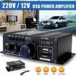 H HILABEE AK380 400W 400W Audio Amplificateur de Puissance, 2.0 CH Bluetooth 5.0 Récepteur Haut-Parleur Amp Basse et Réglage des Aigus Music Player Sound