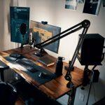 LANUCN Mic Arm 2e Génération à Bras, Amélioré Perche Micro avec Pince de Bureau Anti-tremblement, Support de Microphone Stand pour Blue Yeti et Autres Micros