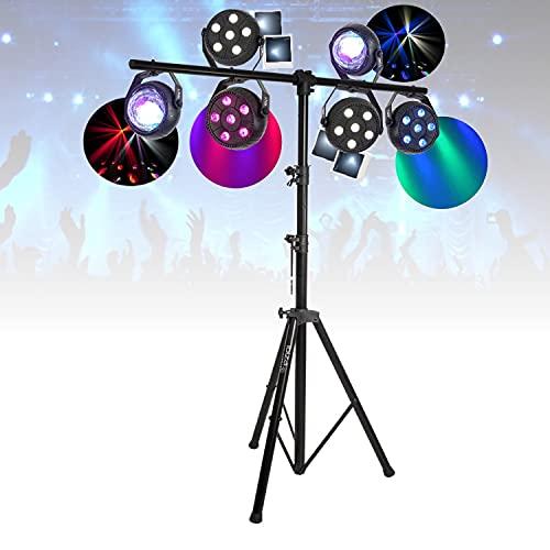Pack light DJ 6 jeux de lumière compacts et puissants»Parled Projecteur Astro» + 1 Portique DJ robuste – PA DJ SONO MIX LED idéal soirée anniversaire mariage – Bar led club disco