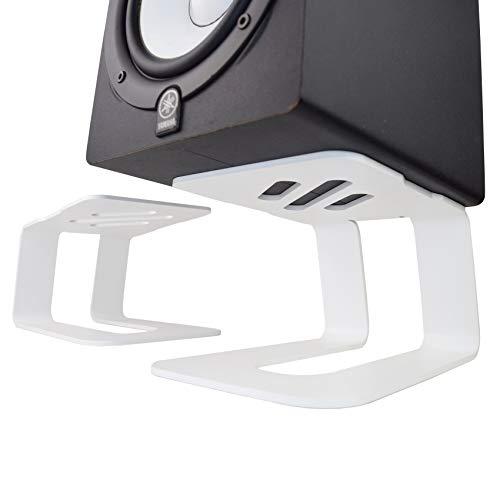 Soundrise PRO-5 Lot de 2 supports de haut-parleurs pour moniteur de studio avec absorption des vibrations pour son surround avant, technicien du son, DJ, Audiophile (blanc mat)