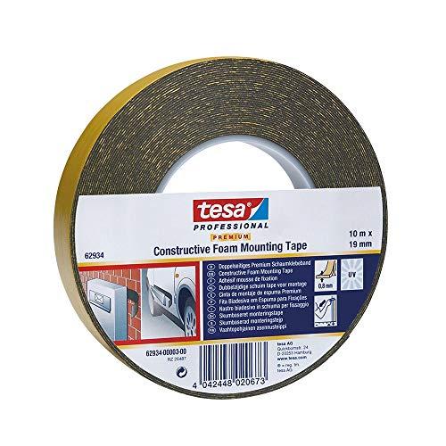 TESA 62934-00003-00 – Cinta doble cara Montaje de Espuma Premium serie 62934-10m x 19mm manchetta Negra