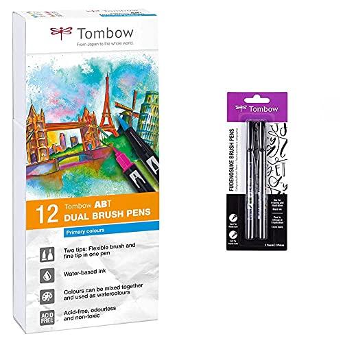 Tombow ABT-12P-1 Lot de 12 Feutres pinceau à 2 pointes, couleurs primaires & 62038 Fudenosuke brosse stylo avec une pointe douce et dure, noir, 2 pièces
