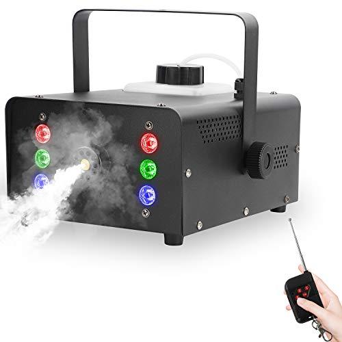UKing 1500W Machine Fumée avec 6 LED RGB, Machine à Brouillard de Fête avec Télécommande et Réservoir de 1L, Volume de Brouillard élevé, ne Doit être Chauffée que Pendant 6 Minutes