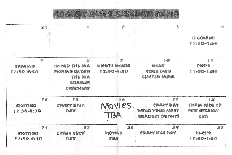 Summer Schoolers Calendar August Quail Valley Preparatory School