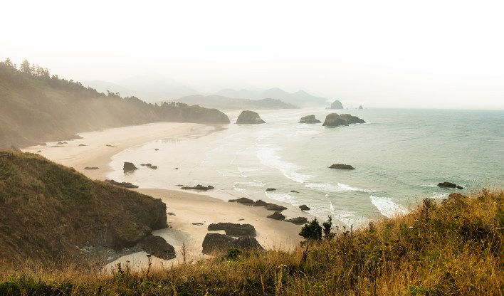 The Cascadia Subduction Zone extends along the coast of the Pacific Northwest. Pictured here: Escola State Park, Oregon Coast