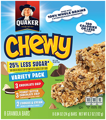 Product Oat Snacks Quaker 25 Less Sugar Chewy Granola