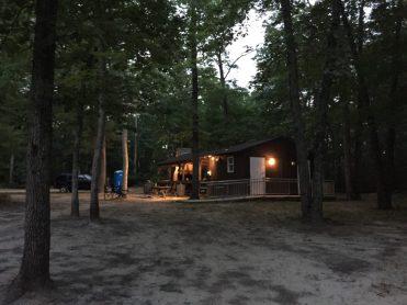 Camp at dusk