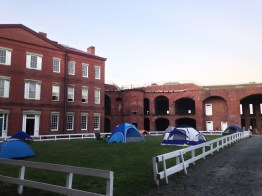 Setting up our overnight tent city.