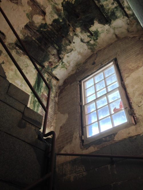 A stairwell going up from the sallyport in the front entrance of the fort.