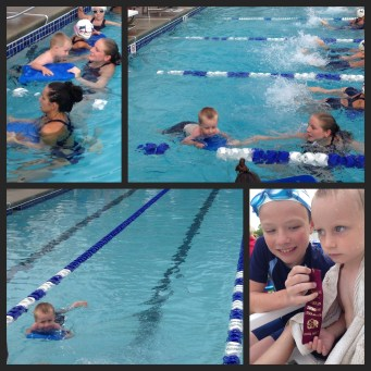 Gregory's first meet on the Elmer Swim Team, 2014. This meet was at home at the Elmer Swim Club pool.