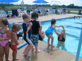 Theo taking Elmer Swim Club-sponsored lessons in 2009.
