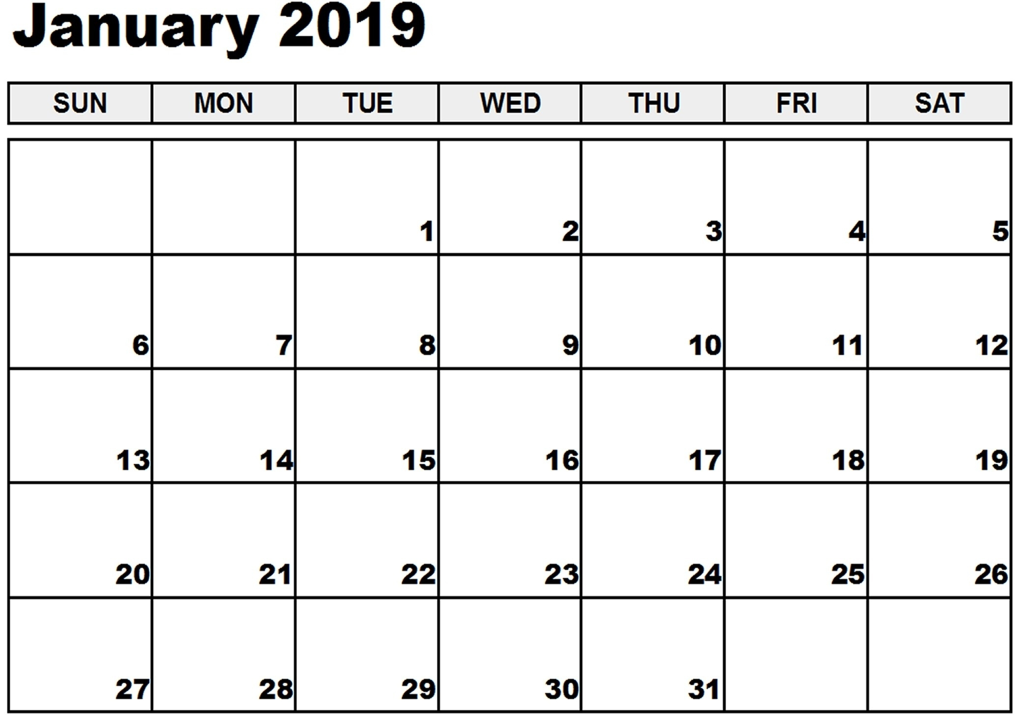 January Calendar Excel Free Calendar Templates Worksheets