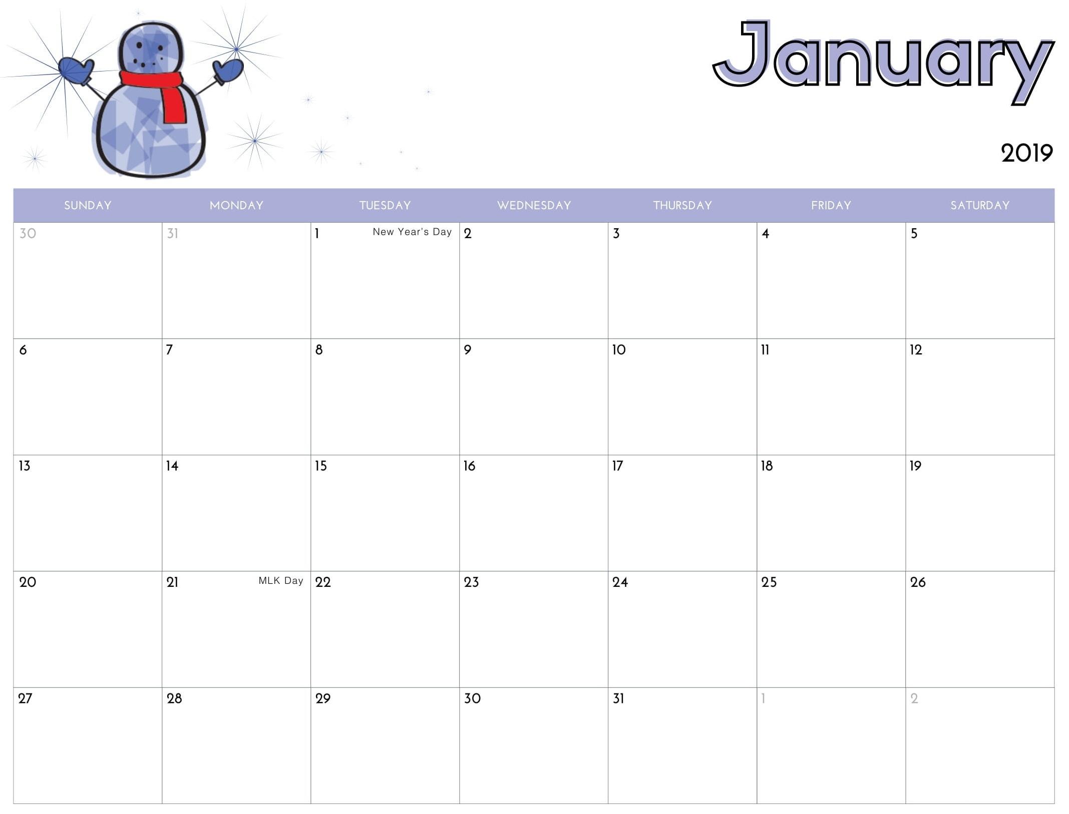 January Calendar For Kids 2