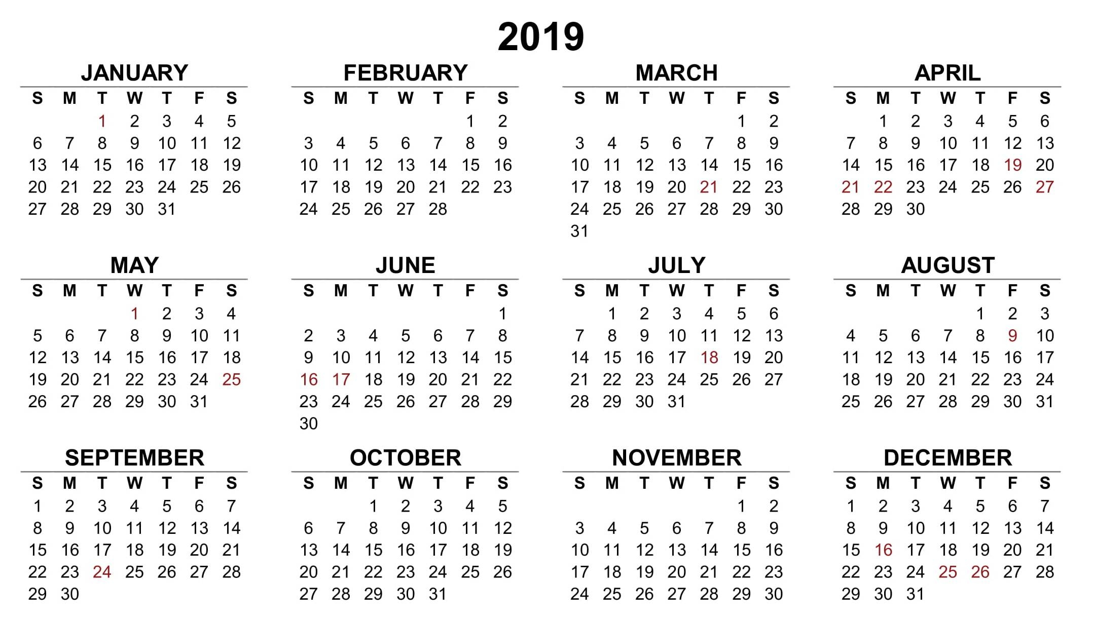 Small Printable Calendar