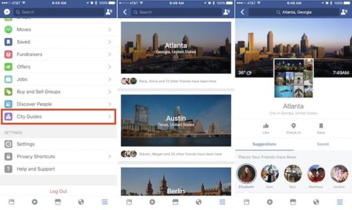 Ecrans facebook city guides sur ios