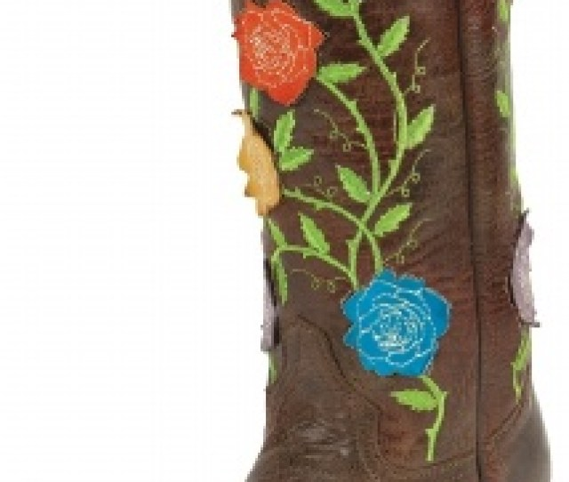 Justin L Ladies Fashion Western Boot With Molten Tawny Cowhide Foot And A Narrow Rounded Toe