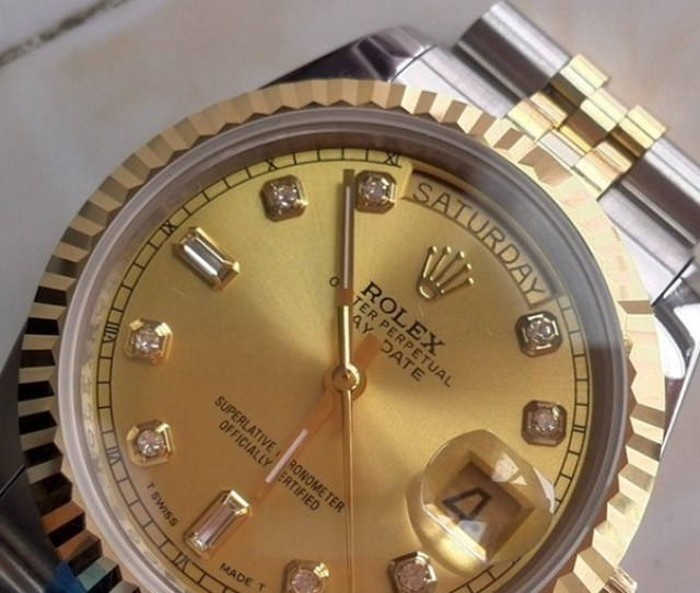 Swiss Rolex Day Date 18k Gold Diamond Time Markers Two Toned Strap Automatic Replica Watch