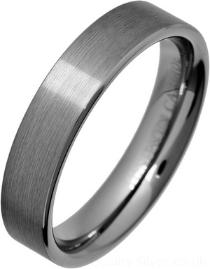 5mm Flat Brushed Tungsten Carbide Ring