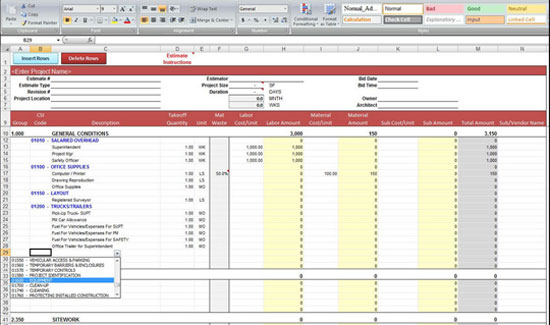 General Construction Estimate Spreadsheet