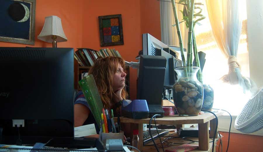 Janet at work at Xarktopia World HQ, February 2013.