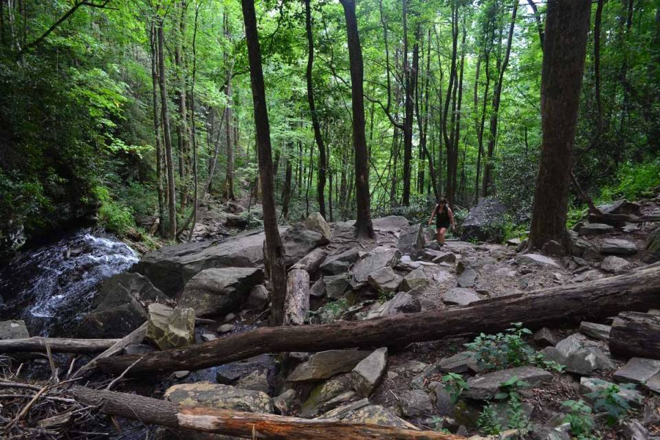 Debris field below Rainbow Falls, Jones Gap State Park, Aug. 22, 2016.