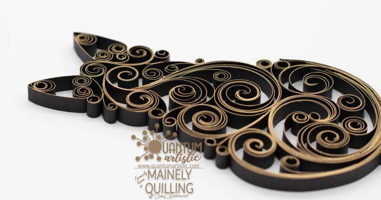 Gilded Black Quilled Cat | Gilded Scrollwork