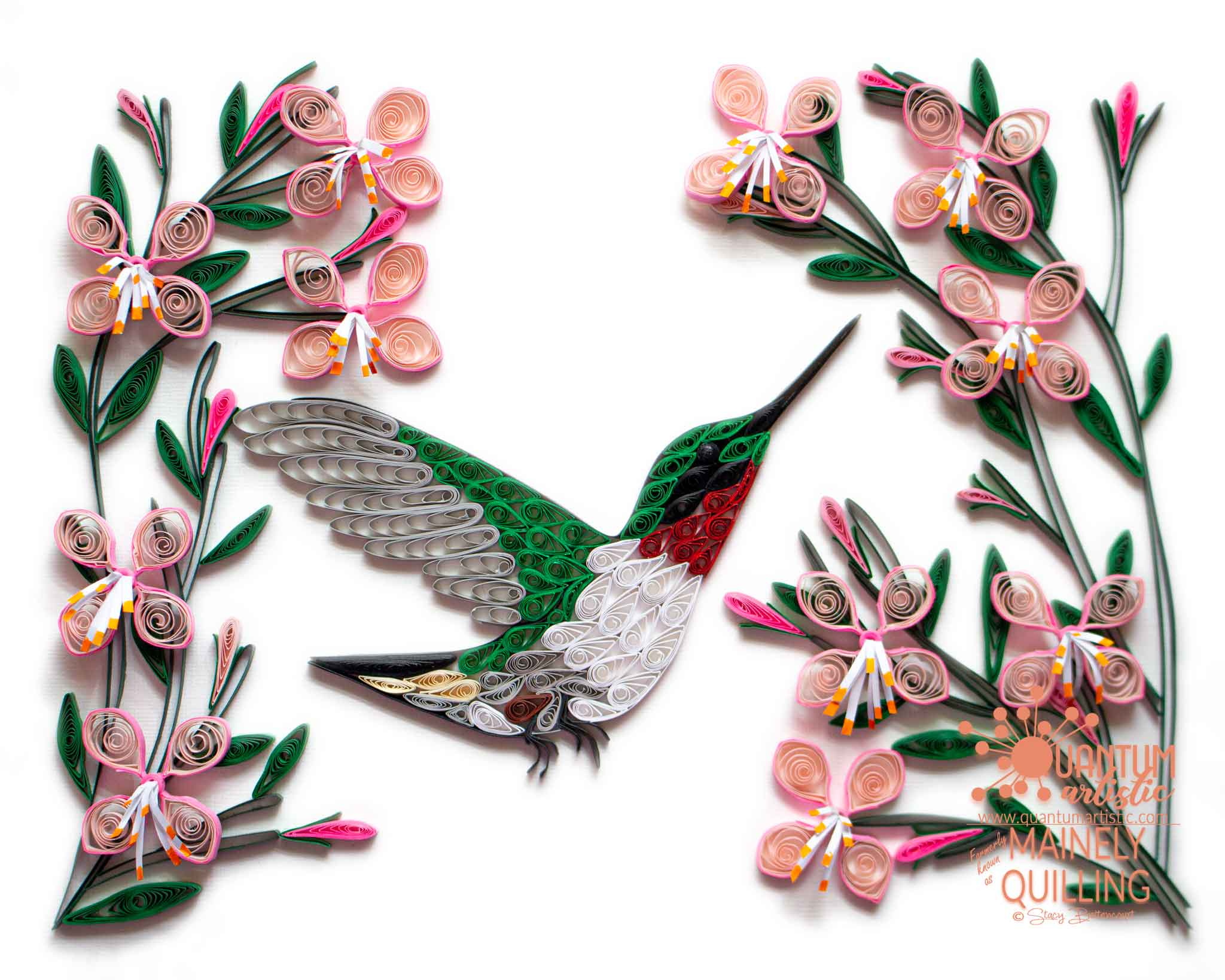 Quilled Hummingbird with Pink Flowers