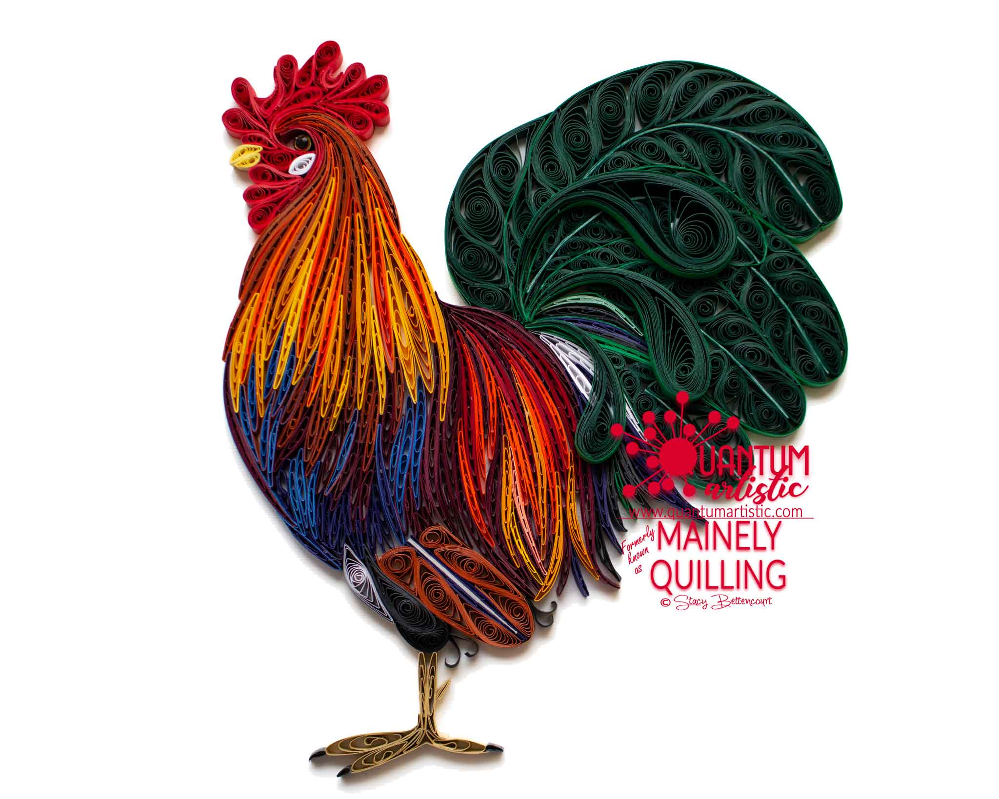Paper Quilled Colorful Rooster