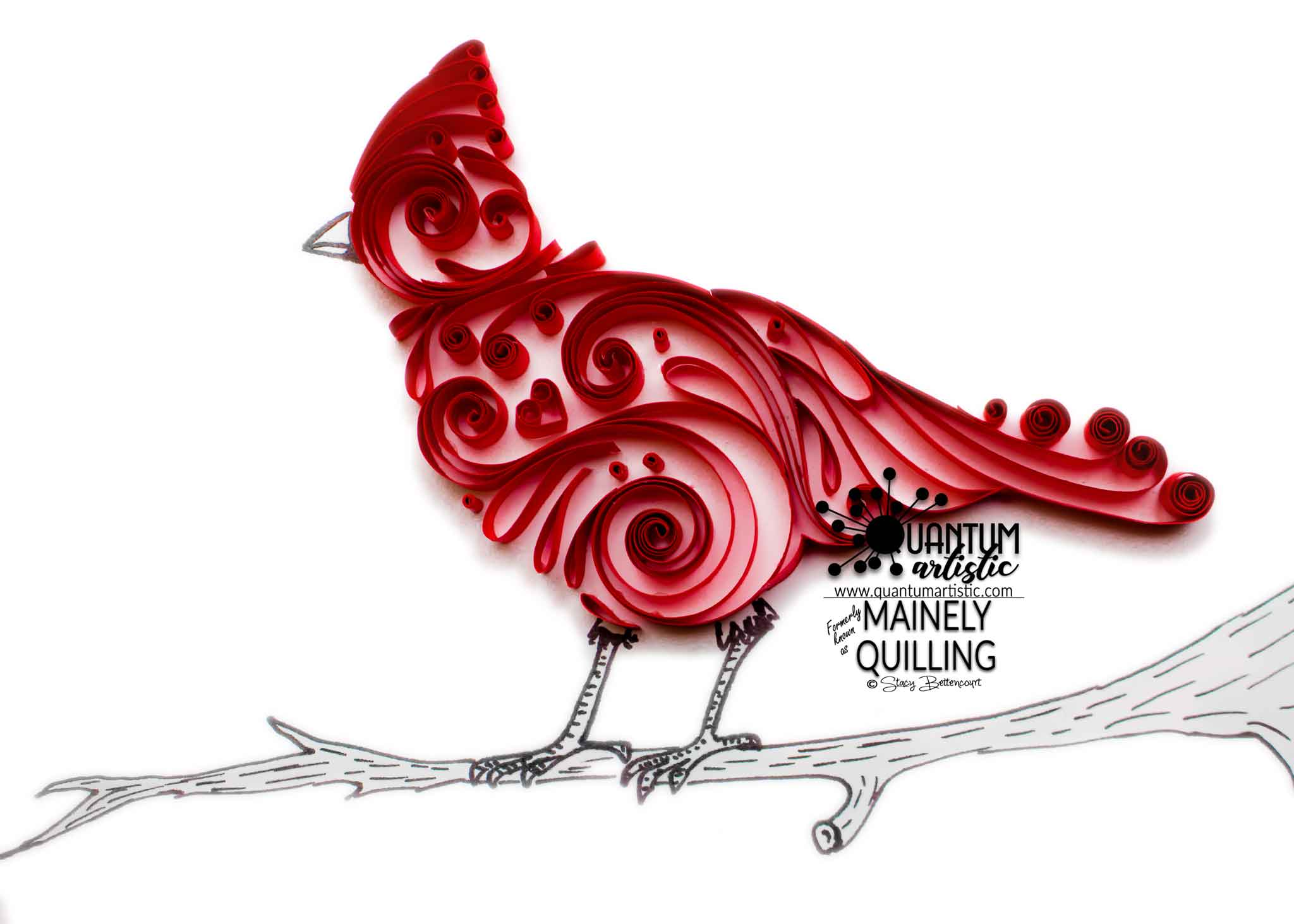 Paper Quilled Northern Cardinal