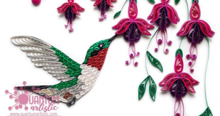 Quilled Hummingbird With Fuchsia