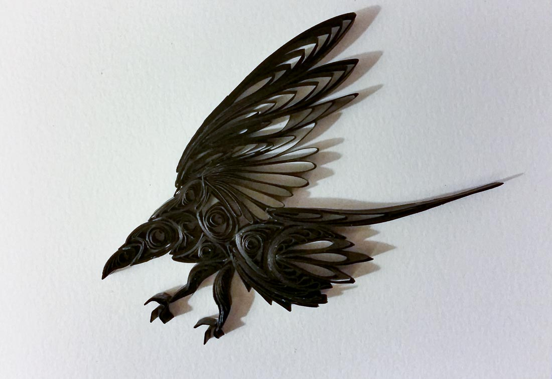 Simple Paper Quilled Raven