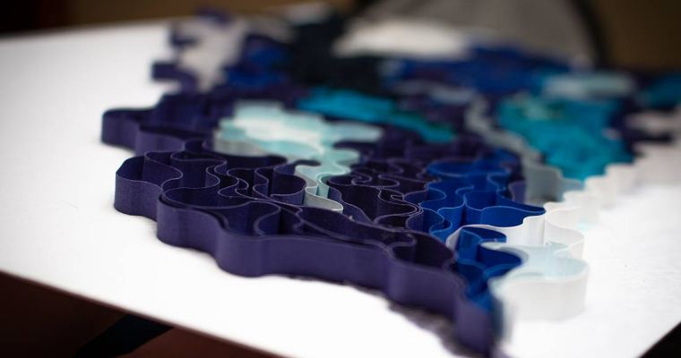 Quilled Blue Smoker Abstract