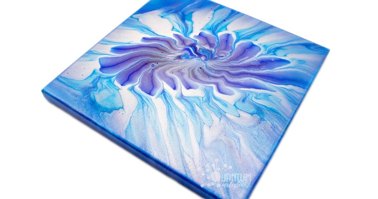 Metallic Blue Strainer Flower | Acrylic Pour Painting