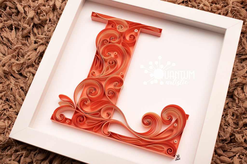 Quilled Letter S Monogram | Salmon