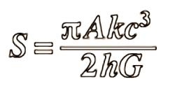 The Bekenstein–Hawking entropy formula for a black hole