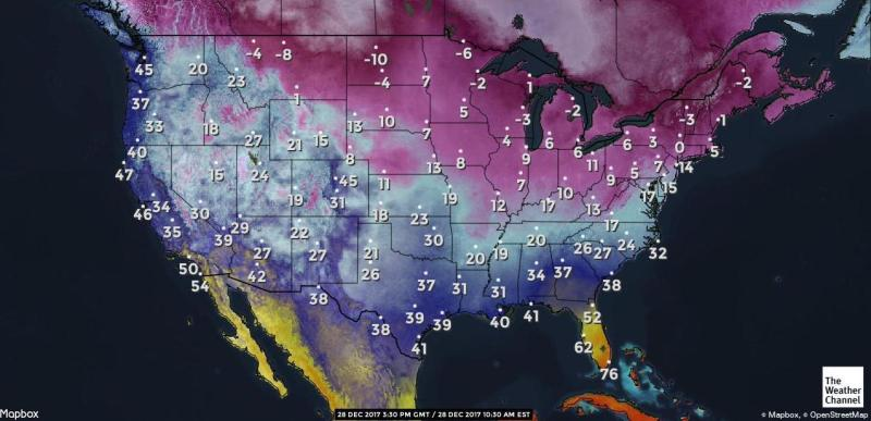 Cold weather map