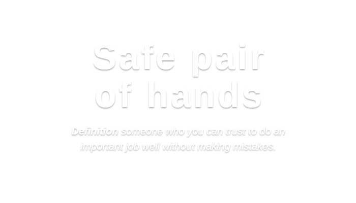Safe pair of hands   Definition someone who you can trust to do an important job well without making mistakes.