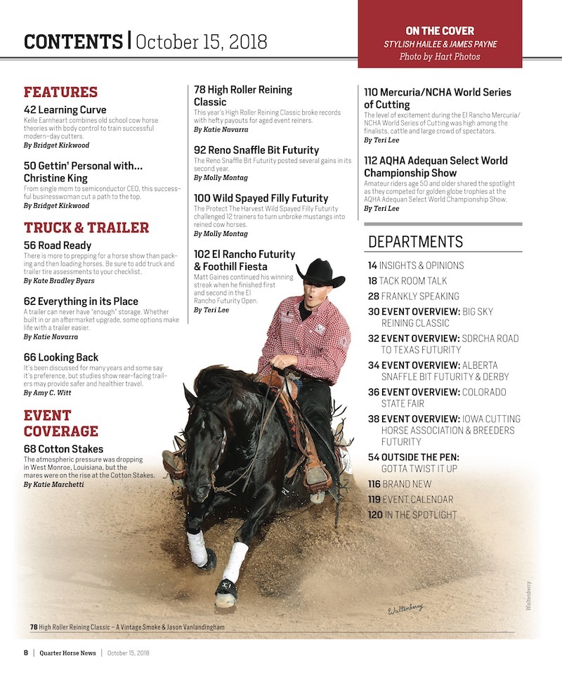 October 15th Quarter Horse News Table of Contents