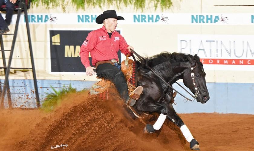 Horse sliding in the dirt.