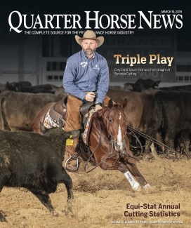 Tatum Rice on the cover of the March 15, 2019 cover of Quarter Horse News magazine.
