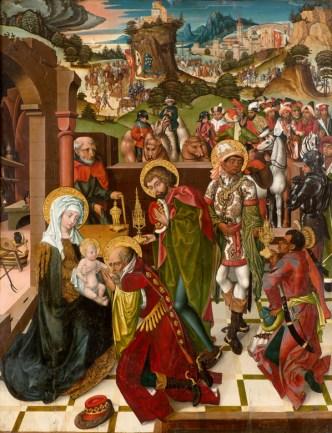 Wiener Meister Ankunft, Reise und Anbetung der Könige, um 1490 Malerei auf Holz, 146 x 113,5 cm Stiftsmuseum, Klosterneuburg Foto: Michael Himml
