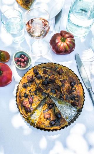 Tarte aux aubergines féta et pignons