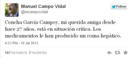 Concha García Campoy, en coma irreversible por los medicamentos, según dice en Twitter Manuel Campo Vidal