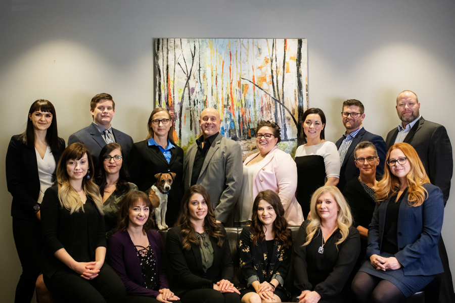 pictured is the full legal team at Queck Law located in Sherwood Park