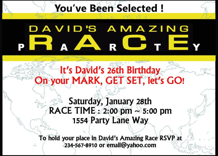 Amazing Race Birthday Party Invitations Image collections ...