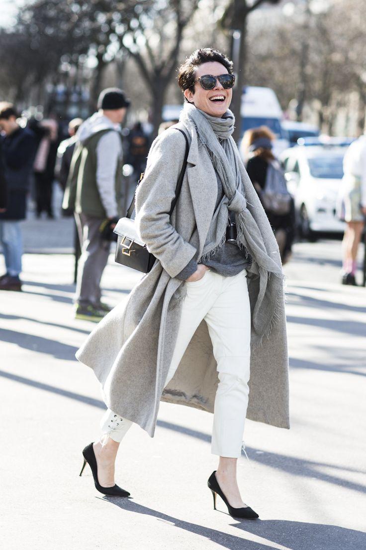 white jeans grey coat grey sweater black pumps fall neutrals fall whites garance doran via bloglovin.com